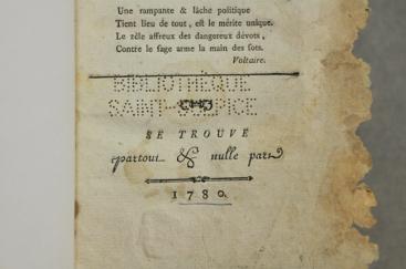 Estampille poinçonnée de la Bibliothèque St-Sulpice