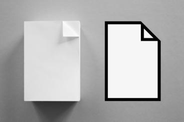 Icône d'un fichier texte et son référent papier