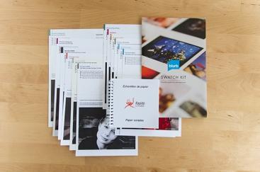 Échantillons des papiers disponibles chez Blurb et chez Rapido Livres
