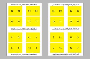 Gabarit des feuilles de presse (23 x 35 po) comprenant 32 pages du livre chacune